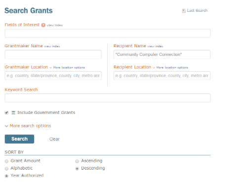 search grants by years screenshot