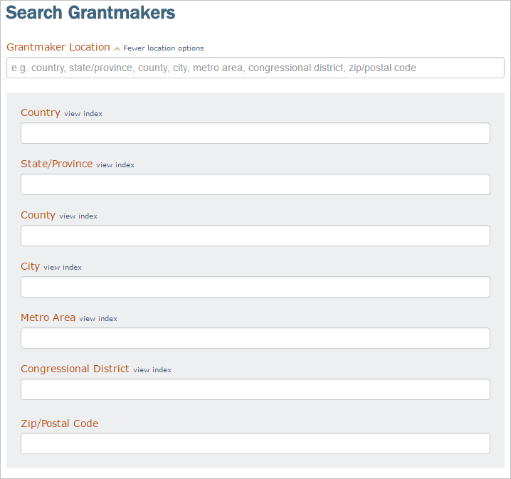 screenshot of the search parameters