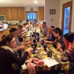 20 people at a long table